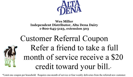 Wes Miller - Alta Dena Home Delivery Coupon Los Angeles CA